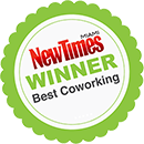 Miami New Times Best CoWorking Space Badge